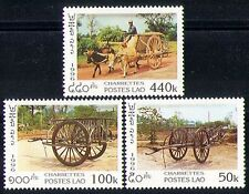 Laos 1996 Ox Carts/Cattle/Nature/Transport 3v (n30452)