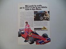 advertising Pubblicità 1978 MOMO e NIKI LAUDA e ALFETTA