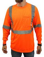Class 2 Max-dry Moisture Wicking Mesh Long Sleeve Safety T-shirt, Neon Orange