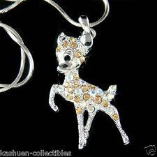 w Swarovski Crystal Brown BAMBI DEER Fawn Charm Pendant Chain Necklace Cute Xmas
