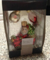 Mercury Glass Santa Claus Christmas Ornament New in Box