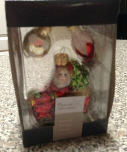 Mercury Glass Santa Claus Christmas Ornament New in Box