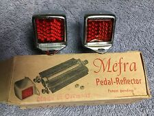 NOS VINTAGE MEFRA BICYCLE PEDAL CHROME END CAP WITH GLASS REFLECTORS