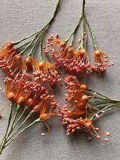 Vintage Millinery Flower Stamen Orange Melon 4 bunch Lot Unused Stock HzG