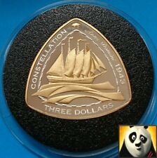 2006 BERMUDA $3 Dollars SHIPWRECK Constellation Silver Proof & Gold Plated Coin