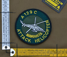 """Ricamata / Embroidered Patch """"A129C Mangusta Helicopter"""" with VELCRO® brand hook"""