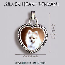 Pomeranian Dog White Pom - Ornate Heart Pendant Tibetan Silver