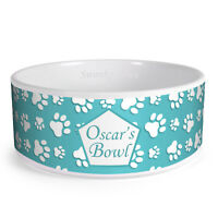 Personalised Paws Pattern Custom Design Dog Bowl Cat Pet Food Dinner Dish