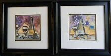 TANYA M FISCHER Used LOT OF 2 Framed & Matted WINE PRINTS BORDEAUX Free Shipping