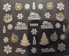 Accessoire ongles, nail art, Stickers noël : bougies et étoiles blanc et doré