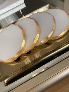 4 X  Round White Marble Gold Edge Coasters