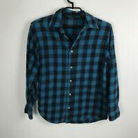 Arizona Boys Flannel Shirt Size XL Blue Teal Black Plaid Long Sleeve Cotton