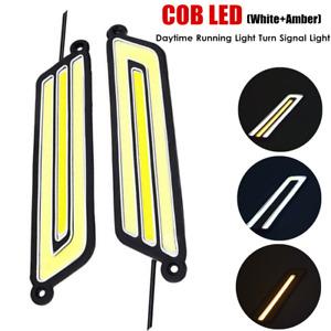 12V Waterproof COB LED Light Car Driving Light DRL Side Marker Lamp White+Amber