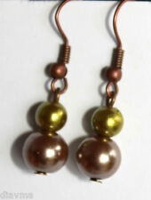 glass coloured faux pearl bead  EARRINGS Jewellery (T1)