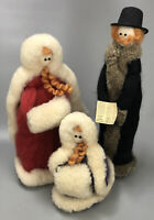 UNIQUE Set of 3 Handmade Dyed Spun Wool Christmas Caroler Figurines Decor AA