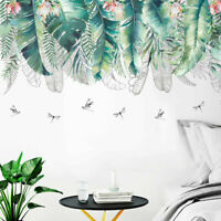Tropical Leaves Dragonflies Wall Stickers Home Decor Art Mural Removable Decal
