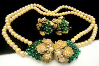 Rare Vintage Early Miriam Haskell Faux Pearl Grapes Necklace & Clip Earring Set