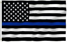 Thin Blue Line American Flag Honoring Law Enforcement 3 by 5 Foot With Grommets
