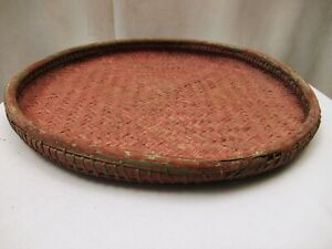 """Antique Burmese Basketry Sieve For Rice And Sesame for Kitchen Burma painted """" 2"""