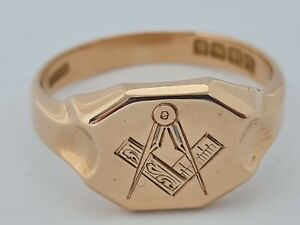 Very Rare Heavy 18 ct Art Deco Gents Gold Masonic Ring 1926 Birmingham