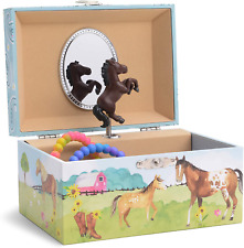 Girl's Musical Jewelry Storage Box with Spinning Horse, Barn Design, Home on New