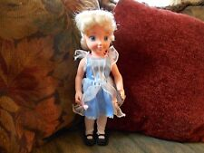 15 inch unbranded vinyl blond doll dressed in blue dress/tights and shoes