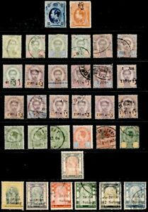 Thailand 1883-1909, Group of 33 Stamps (12 Mint)