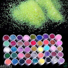 45 Colors Nail Art Glitter Powder Dust For UV Gel Acrylic Decoration Set Tips