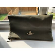 VIVIENNE WESTWOOD KHAKI FOLD OVER CLUTCH BAG USED - COMES WITH CROSS BODY STRAP