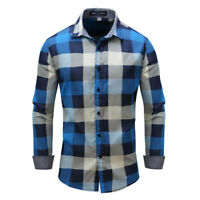 New Mens Clothing Luxury Check Cotton blue Casual Long Sleeve Dress Shirts XT411