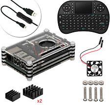 Raspberry Pi 3 & Pi 2 Kits (Caja,Ventilador,Cable,Disipador térmico,teclado)