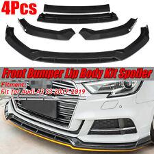 For Audi A3 S3 2017-2019 4PC Carbon Fiber Look Front Bumper Lip Spoiler Body Kit