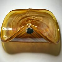 Murano White Crystal Hand Blown Glass Folded Bowl Centerpiece Amber Gold Italy