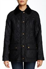 NWT Barbour Women's Jacket 12 Black Quilted Wax Beadnell Coat Insulated MSRP$459