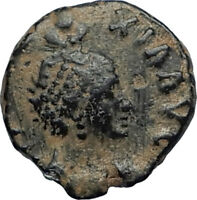 EUDOXIA Arcadius Wife 401AD Authentic Ancient Roman Coin VICTORY CHI-RHO i67270
