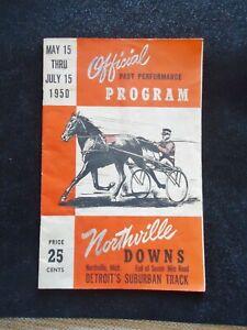 1950 Northvill Downs program. northville, MI. Detroit's suburban track. Huck's