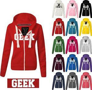 Women Ladies GEEK Zipped hoodie Sweatshirt Top Jumper Jacket Hoody