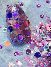 glitter mix acrylic gel nail art   PURPLE UP