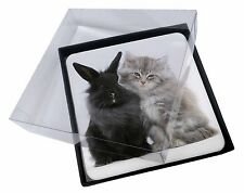 4x Cute Kitten with Rabbit Picture Table Coasters Set in Gift Box, AC-161C