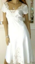 MONSOON SIZE 18 OFF WHITE LINEN EMBROIDERED SUMMER HOLIDAY DRESS US 16 EU 46