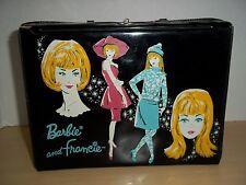 Vintage Mattel 1965 Black Vinyl Lunch Box Barbie & Francie Doll Case