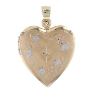 Yellow Gold Diamond Floral Cross Heart Locket - 14k Pendant Two Photo Frames