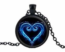 Kingdom Hearts Heartless Logo Glass Domed Black Metal Pendant Necklace