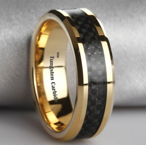 New 18k Gold Tone Mens Tungsten Wedding Band Ring with Black Carbon