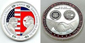 Donald Trump Kim Jong Un Silver Coin Peace SIngapore USA DPRK Old Americana Old