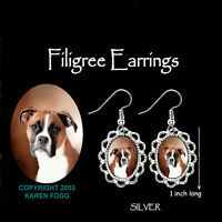 BOXER DOG Natural Ears - SILVER  FILIGREE EARRINGS Jewelry