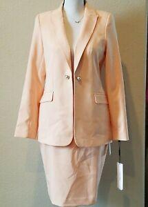 CALVIN KLEIN Women's Career 2 Piece Blazer & Skirt Set Size 8P**Lined**Peach*NWT