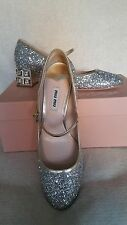 NIB Miu Miu Prada Glitter Mary Jane SIlver Pump 38 8 Jeweled Heel Crystal Shoes