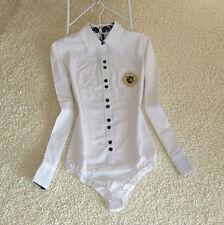 Women White Cotton OL Bodysuit Blouse long Sleeve Formal Shirt Female Tunic Tops