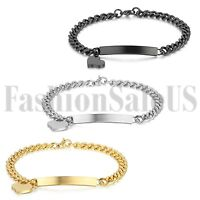 Women's Ladies Stainless Steel Charm Heart Dangle Chain Bracelet Bangle Jewelry